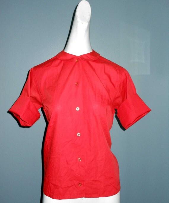 Vintage 50s RED Blouse Top Shirt short sleeVe Summer Sweetie