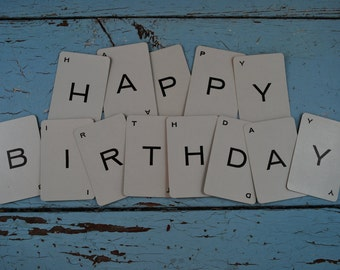 Vintage Playing Cards:13 Alphabet Cards - Happy Birthday