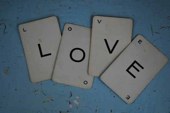 Vintage Playing Cards:12 Letter Cards - Love, Joy, Peace
