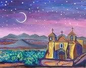 New Mexico Adobe Church, Original Acrylic Large Painting