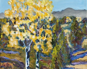 Aspen tree painting, Oil Painting, Fall Aspen Trees, Mountain landscape, original oil painting