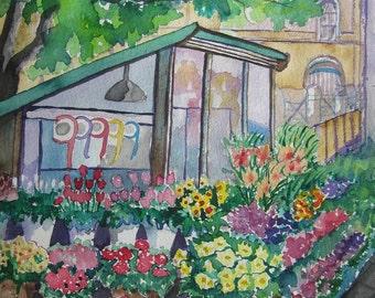 urban street watercolor painting, Original Watercolor painting