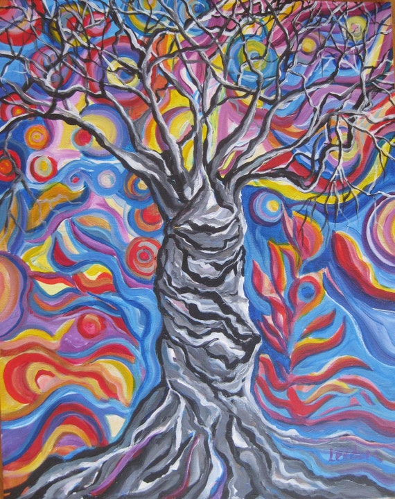 Abstract tree painting, Original Acrylic Painting on wrapped canvas, tree wall art, tree canvas art