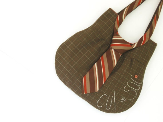 Necktie Bag: an eco-friendly and upcycled purse in orange and brown stripes