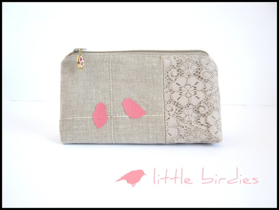 Eco-friendly Cosmetic, pencil, notion pouch made of upcycled fabrics
