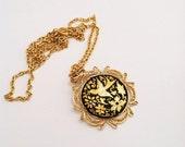 Vintage Gold Hunger Games Necklace-Mocking jay bird, black, 1960's flowers-Pendant