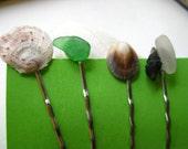 Spring Green Seaglass Puka Shell Hair Pins Set of 4 Hawaiian Shell Accessory Bobby Pins