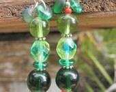 Emerald & Apple Green dangle glass resin Earring, silver, beaded bright green fresh look