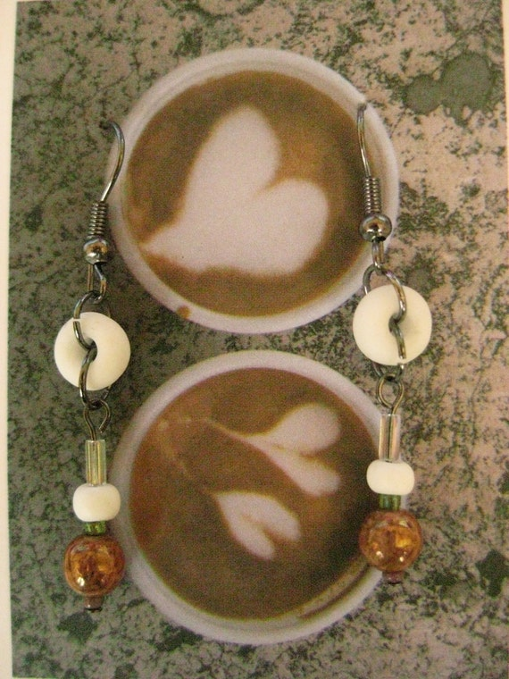 Whimsical Breakfast Inspired Earrings Coffee and Cream colored dangles Powdered Doughnut Beads in Czech Glass