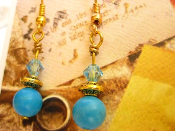 SALE- Turquoise Magnesite and Gold Earrings- Swarovski Crystal and Gold Plated Dangle