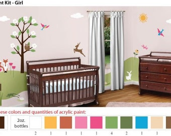 Arcrylic Stencil Paints for Painting Pink Forest Girl Room