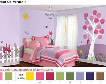 Arcylic Stencil Paints for Pink Flower Garden Girls Room