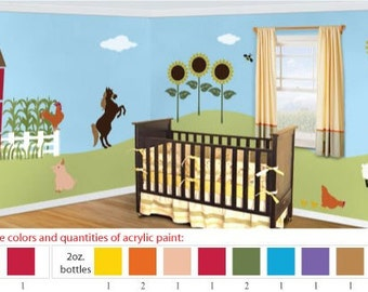 Acrylic Stencil Paints for Farm Animal Kids or Baby Room