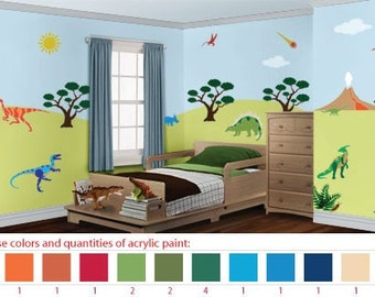 Acrylic Stencil Paints for Dinosaur Kids or Baby Room