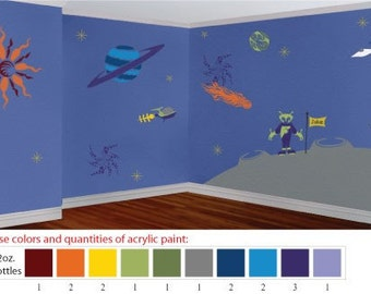 Acrylic Stencil Paints for Painting Kids Outer Space Room