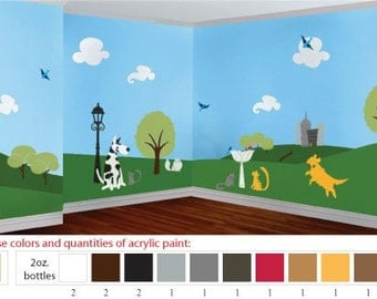 Acrylic Stencil Paints for Dog and Cat Themed Kids Room