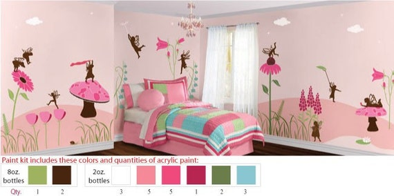 Acrylic Stencil Paints for Painting Pink Fairy Girls Room