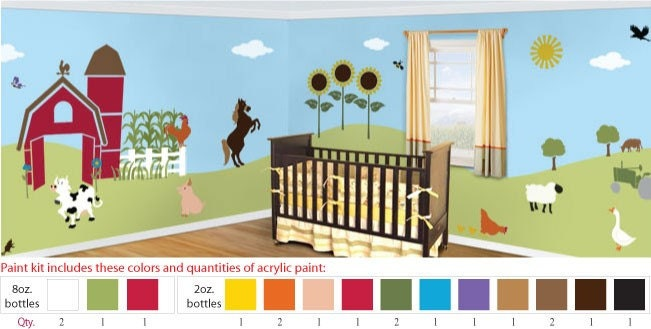 Acrylic stencil paints for farm animal kids or baby room for Disney wall stencils for painting kids rooms