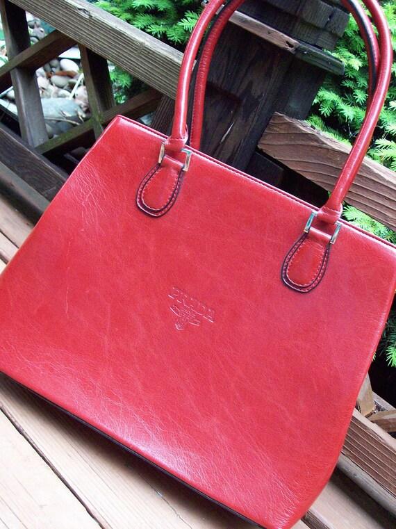 Vintage Valentine red PRADA Replica faux leather purse handbag copy