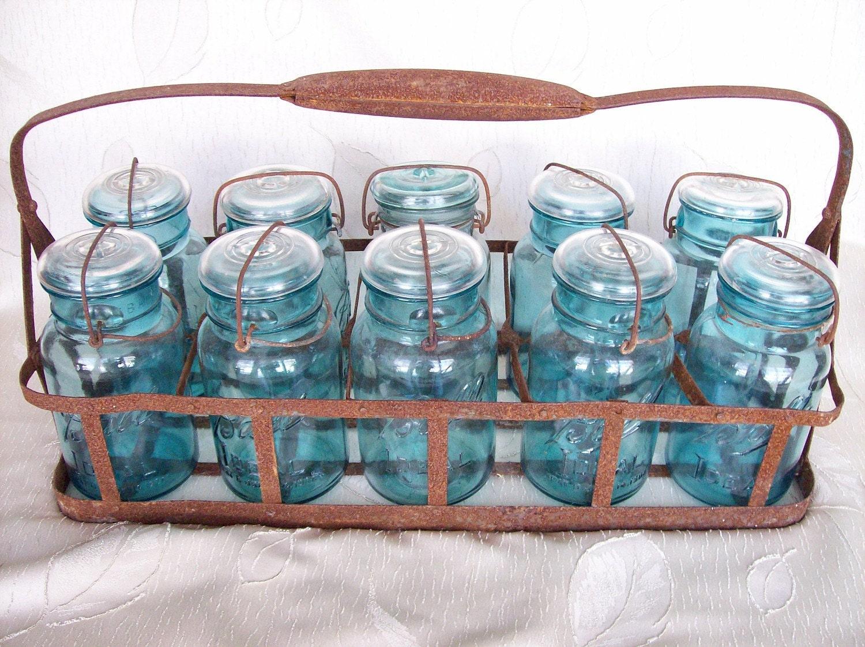 sale antique blue mason jar set with holder. Black Bedroom Furniture Sets. Home Design Ideas