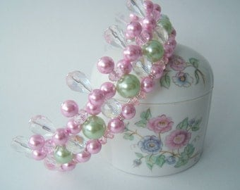 Rosebud Deep Pink and Green Child's Tiara