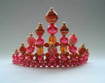 Gold, Pink and Orange Childs Tiara