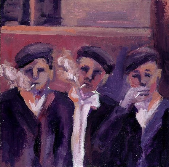 Painting of Three Depression Era Boys Smoking Cigarettes