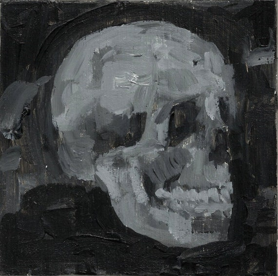 Black and White Impressionist Painting of a Skull - Original Painting - Acrylic Painting - Size 6x6 - Gray Death Art - Grey Macabre