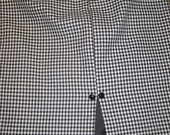 sexy 1950s black and white cotton houndstooth wiggle skirt with split and glass buttons