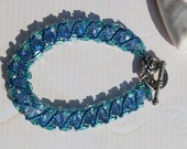 Blue Beadwoven Bracelet - Aqua Turquoise