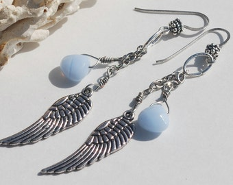 Angel Wing Earrings Blue Lace Agate Gemstone Sterling Silver