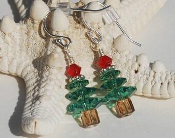 Swarovski Crystal Christmas Tree Earrings Swarovski Crystal Earrings Sterling Silver Dangle Earrings Holiday Jewelry Stocking Stuffer Gift