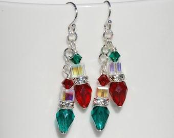 Christmas Light Earrings Swarovski Crystal Earrings Sterling Silver Dangle Earrings Christmas Earrings Holiday Jewelry Stocking Stuffer Gift