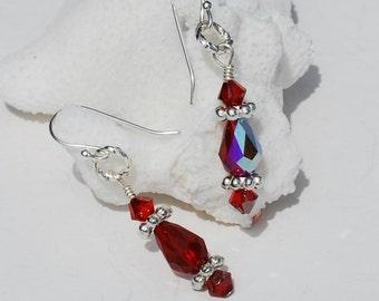 Red Bridesmaid Earrings Ruby Red Earrings Teardrop Swarovski Crystal Bridesmaid Earrings Bridesmaid Gift Wedding Earrings