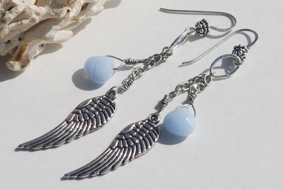 Blue Lace Agate Earrings Sterling Silver Earrings Blue Lace Agate Jewelry Gemstone Jewelry Blue Agate Dangle Earrings Angel Wing Earrings