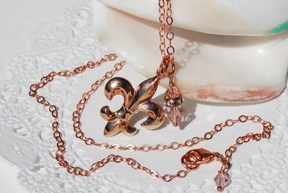 Copper Fleur De Lis Necklace Vintage Inspired Swarovski Crystal