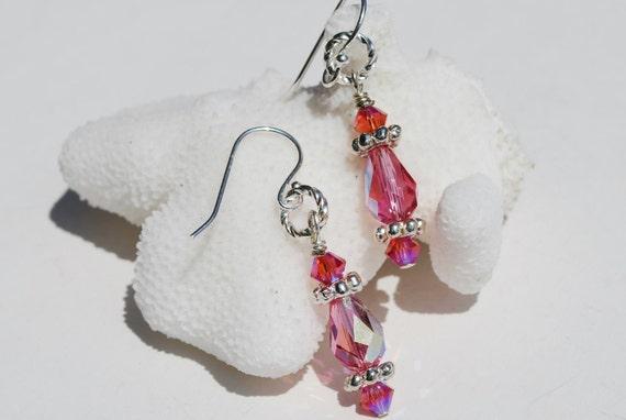 Pink Bridesmaid Earrings Swarovski Sterling Silver Teardrop Briolette