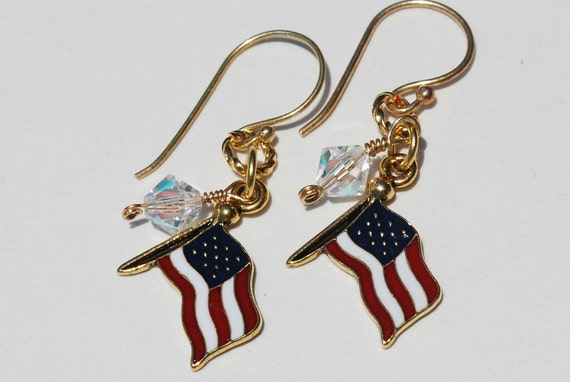 Red White & Blue Jewelry American Flag Earrings Patriotic Earrings Stars and Stripes USA Flag Earrings Military Wife Jewelry Flag Jewelry