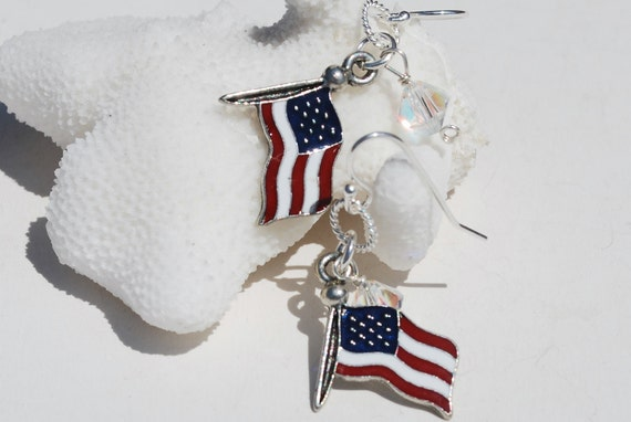 USA Earrings Stars and Stripes Red White and Blue Earrings 4th of July Earrings, 4th of July Jewelry USA Flag Jewelry Nautical Earrings