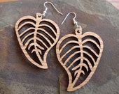 Sustainable Wooden Hook Earrings - Leaves - in Oak - Large