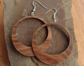 Sustainable Wooden Hook Earrings - Hoops - in Walnut