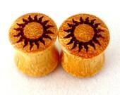 "Sun Osage Orange Wooden Plugs - 0g (8mm) 00g (9mm) (10 mm) 7/16"" (11mm) 1/2"" (13mm) 9/16"" (14mm) 5/8"" 11/16"" 3/4"" 7/8"" 1"" 1 1/8"" 1 1/4"""