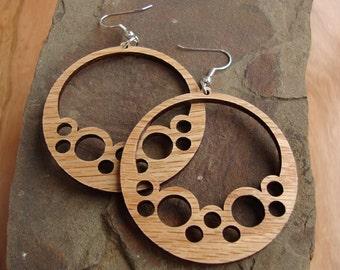 Bubble Hoops Sustainable Wooden Hook Earrings - in Oak - Sustainably Harvested Wood Dangle Earrings