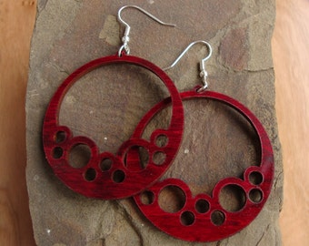Sustainable Wooden Hook Earrings - Bubble Hoops - in Red Stained Maple