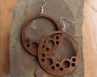 Sustainable Wooden Hook Earrings - Bubble Hoops - in Walnut