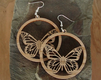 Sustainable Wooden Earrings - Monarch Butterflies - in Oak - large