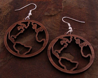 Sustainable Wooden Earrings - Globes - in Walnut