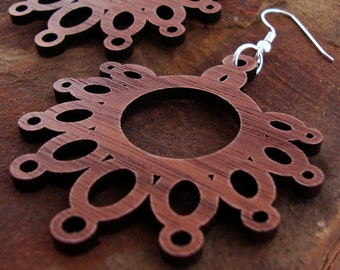 Sustainable Wooden Earrings - Dripping Loops - in Walnut