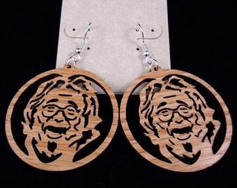 Jerry Garcia Sustainable Wooden Earrings - in Oak - Grateful Dead Wood Dangle Earrings
