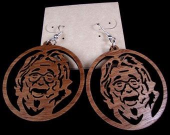 Jerry Garcia Sustainable Wooden Earrings - in Walnut - Grateful Dead
